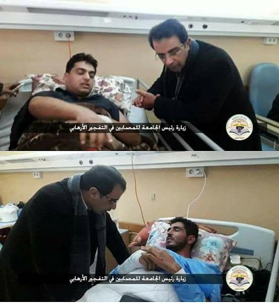 رئيس جامعة بنغازي يزور العاملين بالجامعة الذين تضرروا من تفجير السلماني