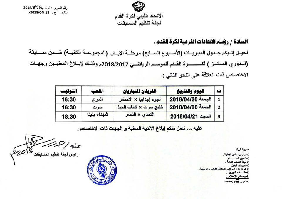 تحديد مواعيد الجولة الأخيرة للمجموعة الثانية للدوري الليبي