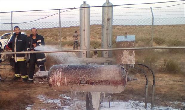 السيطرة على حريق مفتعل في خط الغاز (الوفاء - مليتة) بالقرب من المحطة 15 العجيلات
