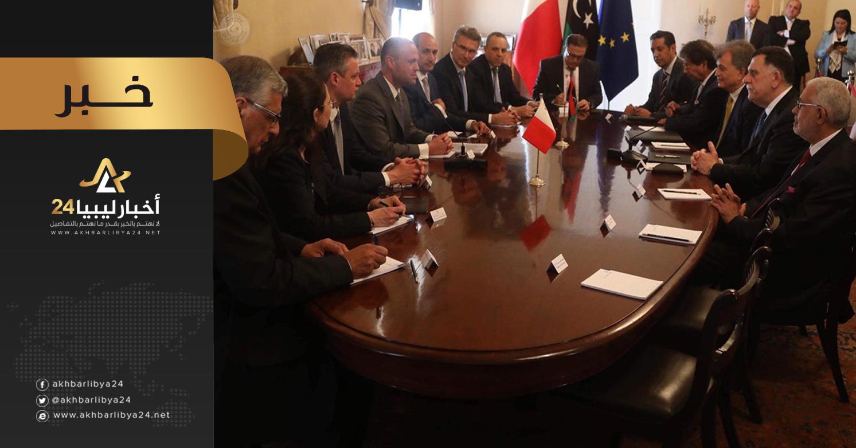صورة السراج لرئيس وزراء مالطا: عازمون على الاستمرار في مقاومة قوات الجيش بكل قوة