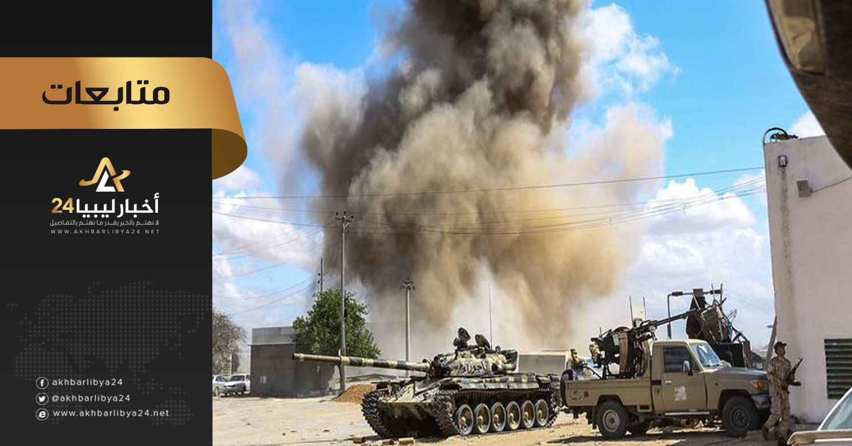 صورة مع وصول تعزيزات عسكرية لطرفي النزاع بطرابلس .. اشتباكات عنيفة بالأسلحة الثقيلة في كافة المحاور