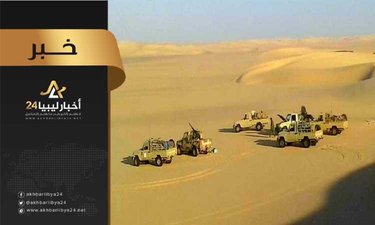 صورة دوريات استطلاعية للكتيبة 401 طبرق على شريط الحدود الصحراوي