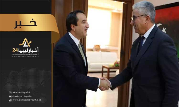 صورة باشاغا يبحث مع السفير التركي قضايا التعاون المشترك وعودة الشركات التركية لليبيا