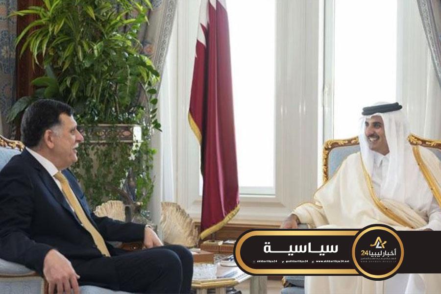 """صورة السراج يشكر قطر على دعمها في """"صد العدوان على طرابلس"""""""