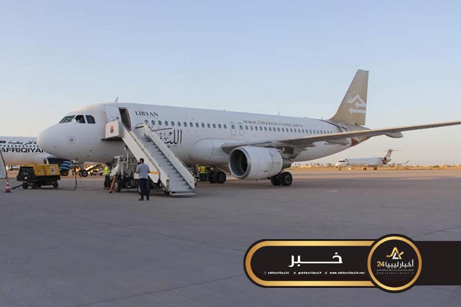 صورة احتجاز طائرة الخطوط الجوية ببنغازي في مطار مصراتة