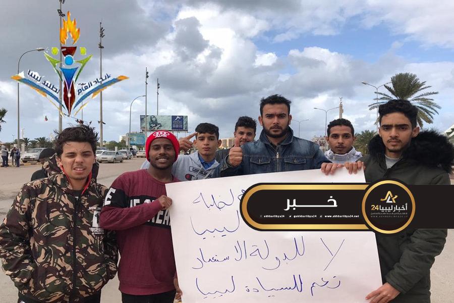 صورة اتحاد طلبة ليبيا ينظمون مظاهرة في بنغازي رافضا للاتفاقية الموقعة مع تركيا