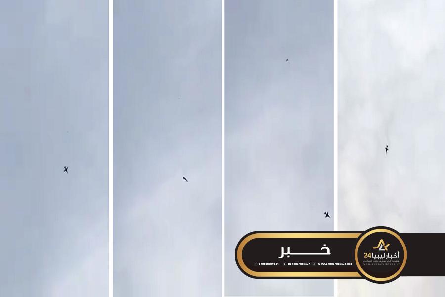 صورة فيديو يؤكد سقوط طائرة للجيش جنوبي الزاوية نتيجة عطل