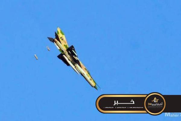 """صورة سلسلة غارات جوية على تجمع لآليات مسلحة لقوات الوفاق في """"أبوقرين"""""""