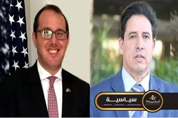 صورة رئيس لجنة الخارجية والقائم بأعمال السفارة الأمريكية في ليبيا يؤكدان على وقف التدخلات الخارجية