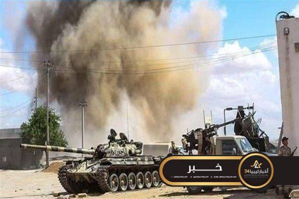 """صورة في خرق جديد للهدنة..مدفعية مليشيا """"166"""" تستهدف مواقع للقوات المسلحة في طرابلس"""