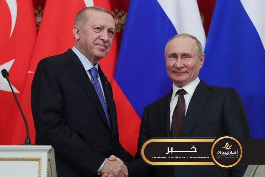 صورة بوتين وأردوغان يعبران عن قلقهما إزاء تصاعد الاشتباكات في ليبيا