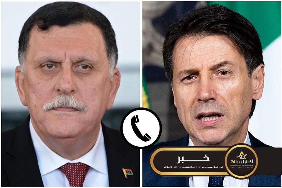 صورة كونتي للسراج: استمرار تدفق الأسلحة إلى ليبيا يساهم في تأجيج النزاع ويطيل معاناة الليبيين