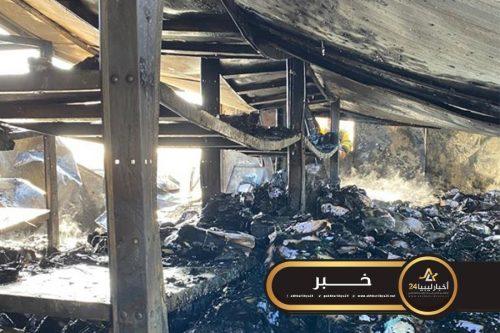 صورة مؤسسة النفط: تضرر مبنى شركة أكاكوس بطريق المطار بطرابلس