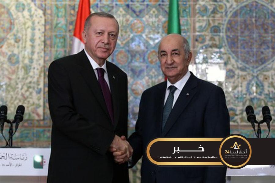 صورة تبون يتفق مع أردوغان على تكثيف الجهود لفرض وقف إطلاق النار في ليبيا