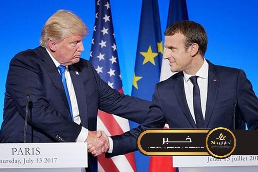 صورة ترامب وماكرون يتفقان على الحاجة الماسة لوقف التصعيد في ليبيا