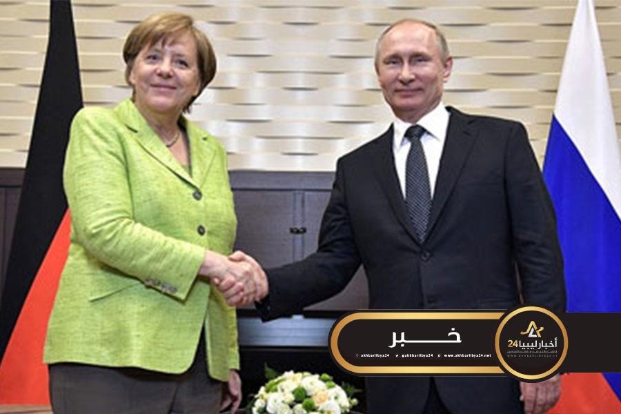 صورة بوتين وميركل يؤكدان ضرورة وقف إطلاق النار في ليبيا وبدء المفاوضات
