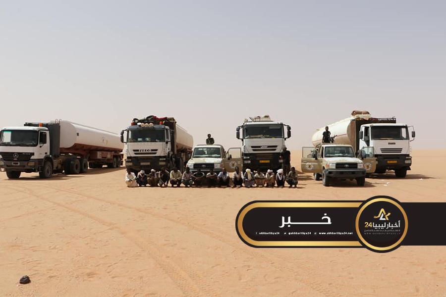 صورة كتيبة سبل السلام تضبط 4 شاحانات وقود مهرب إلى تشاد
