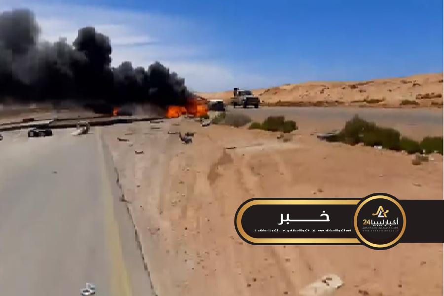 صورة في طريقه لحقل الشرارة..سلاح الجو يستهدف رتلًا لقوات الوفاق قرب أوباري
