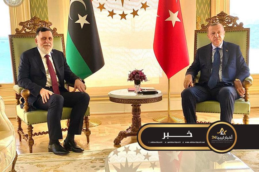 صورة أردوغان والسراج يؤكدان على الحل السياسي للأزمة الليبية