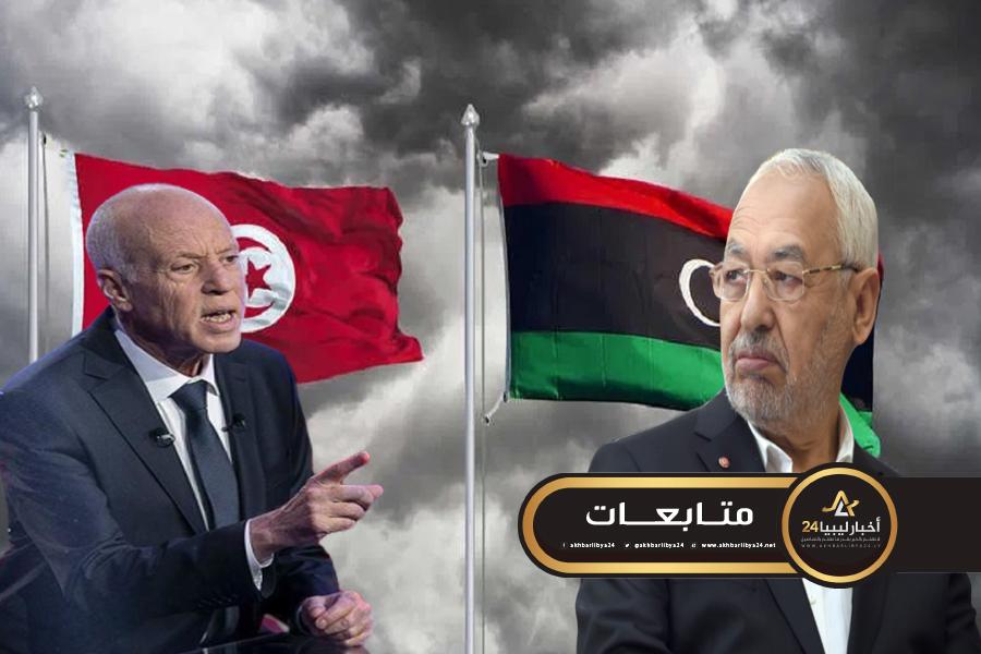 صورة توتر العلاقة بين سعيد والغنوشي بسبب ليبيا