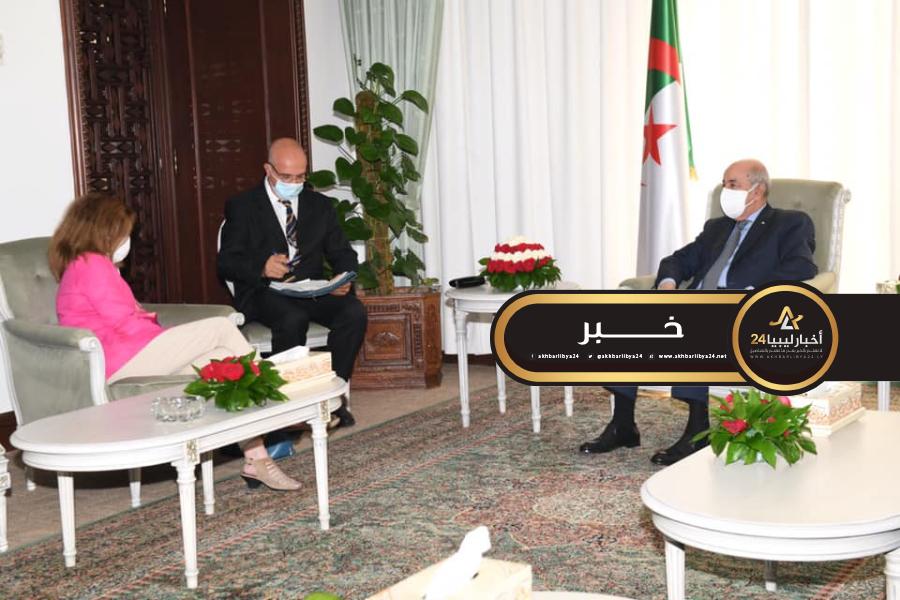 صورة تبون يلتقي ويليامز ويدعو لتعجيل الحل السياسي بليبيا