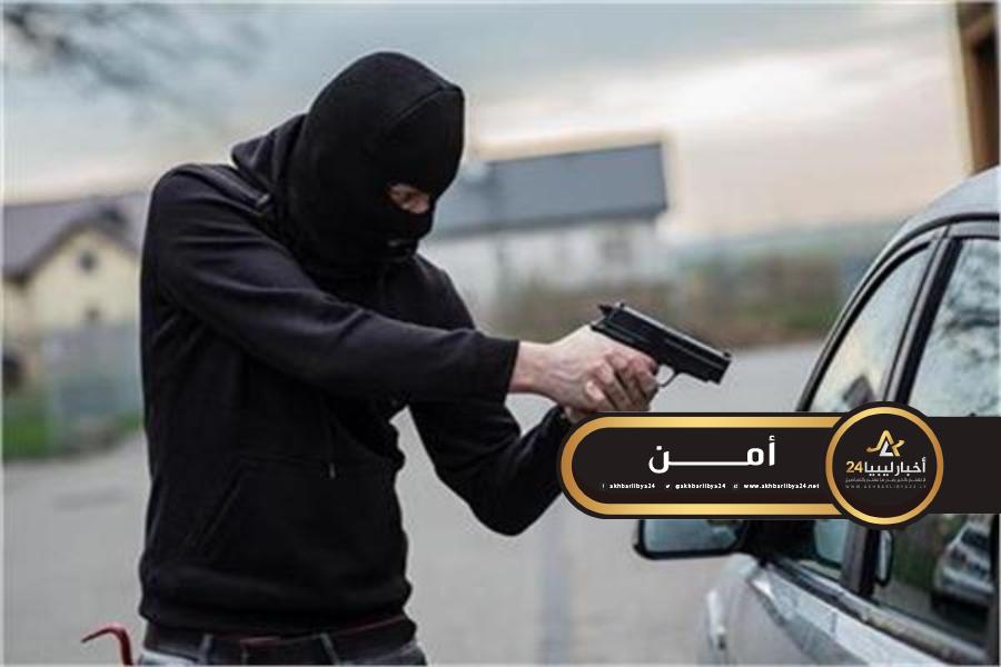 صورة السطو على عائلة قرب ترهونة وسرقة سيارتهم