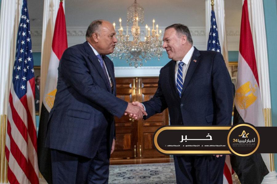صورة شكري وبومبيو يبحثان تثبيت وقف إطلاق النار في ليبيا
