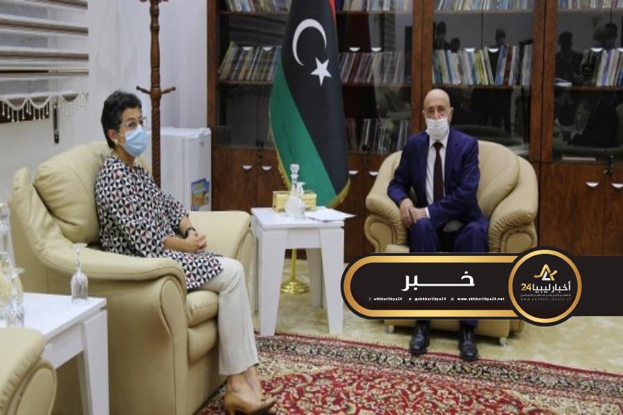 صورة صالح يبحث مع وزيرة خارجية إسبانيا تطورات الأوضاع في ليبيا
