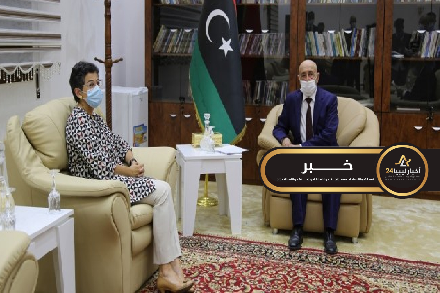 صورة وزيرة خارجية إسبانيا تعرب عن قناعتها لضرورة تشكيل سلطة سياسية جديدة في ليبيا