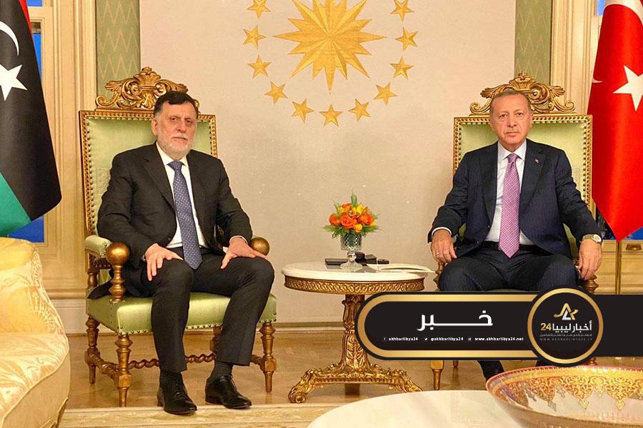 صورة أردوغان يؤكد عزمهم على تعزيز العلاقات مع حكومة الوفاق