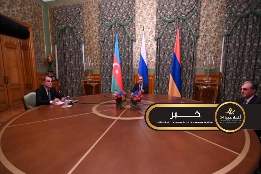 صورة الاتفاق في موسكو على وقف إطلاق النار بين أرمينيا وأذربيجان