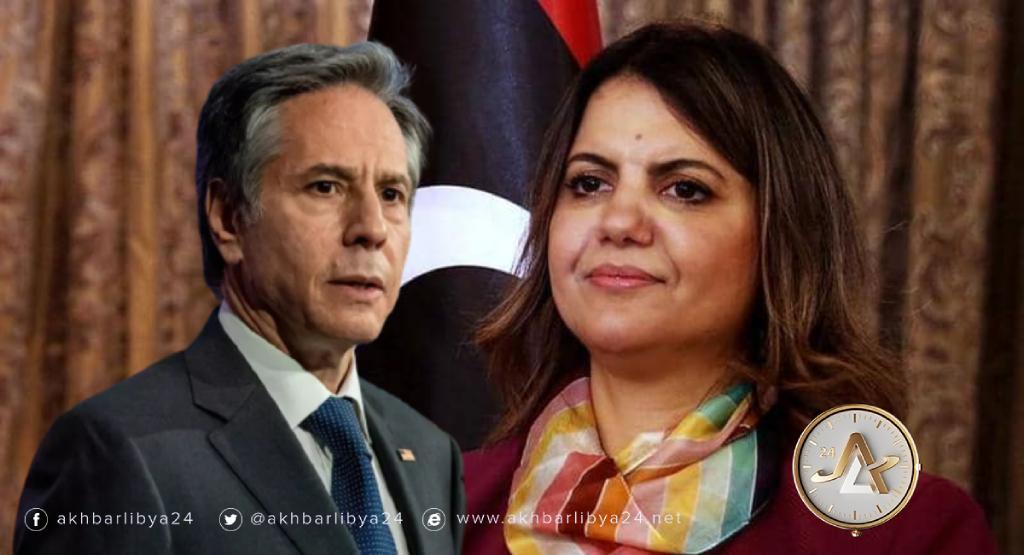 وزير الخارجية الليبية نجلاء المنقوش ونظيرها الأمريكي طوني بلينكن