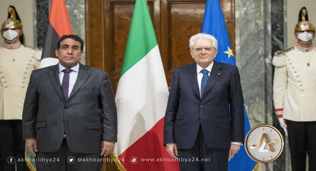 روما- رئيس جمهورية إيطاليا سيرجيو ماتاريلا يستقبل رئيس المجلس الرئاسي محمد المنفي
