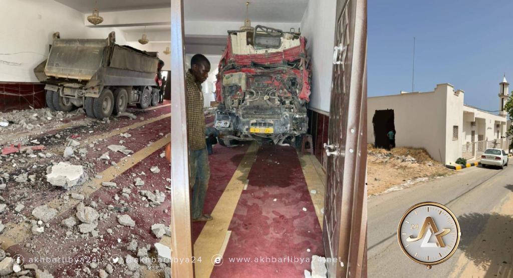 الخمس- شاحنة تخترق مسجد