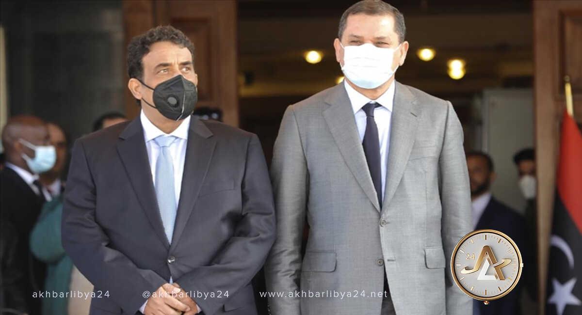 ليبيا-رئيس المجلس الرئاسي، محمد المنفي، ورئيس الحكومة، عبدالحميد الدبيبة